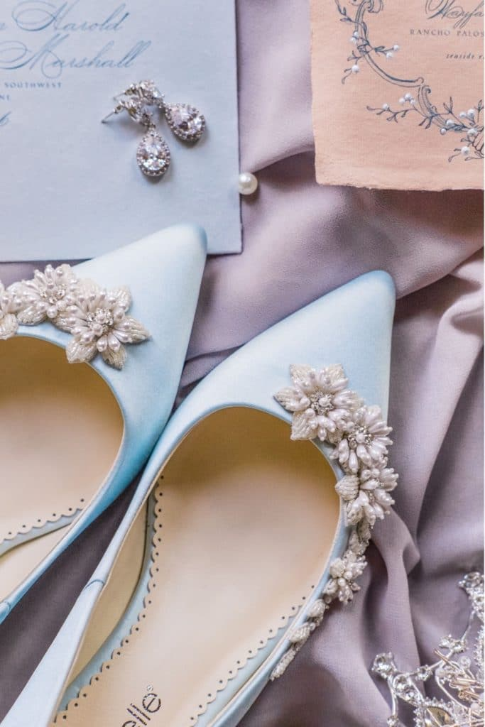 pearl encrusted blue bridal shoes nad jewelry