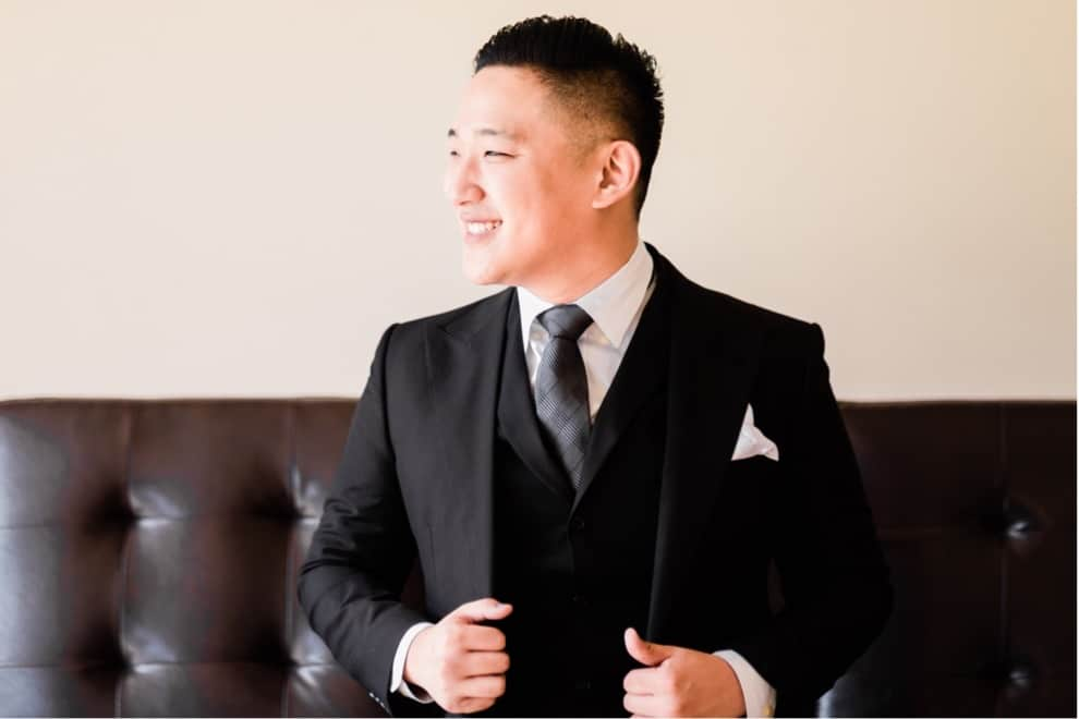 groom in 3 piece suit