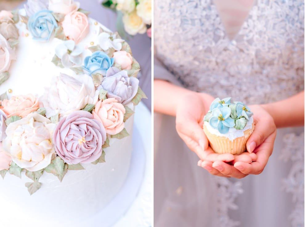 bright pastel colored wedding cake and cupcakes