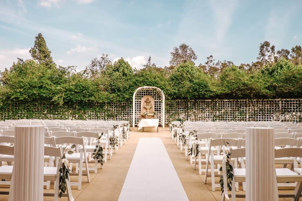 lovely green outdoor wedding set up in Orange County