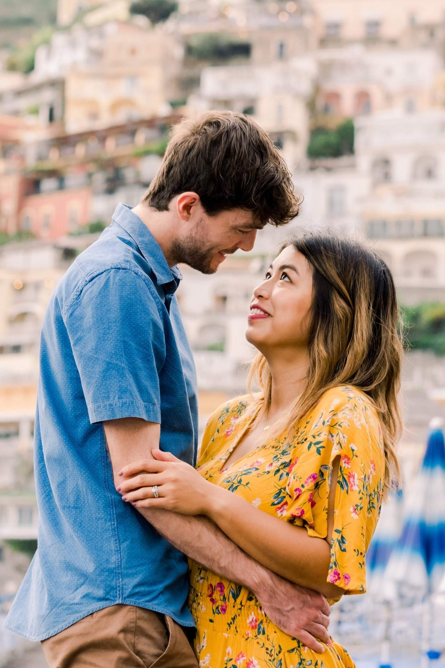 young couple on honeymoon in Positano, Italy