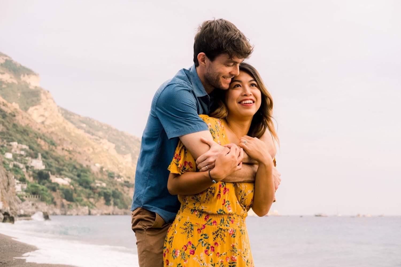 young couple on honeymoon in Positano, Italy