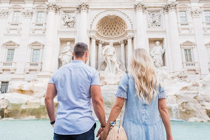 Couples adventure photoshoot at Trevi Fountain in Rome
