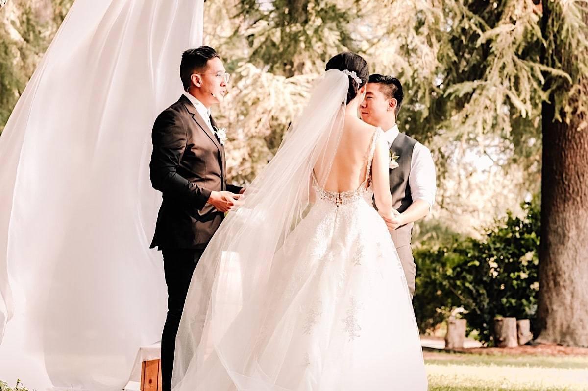 Outdoor ceremony at LA ranch wedding